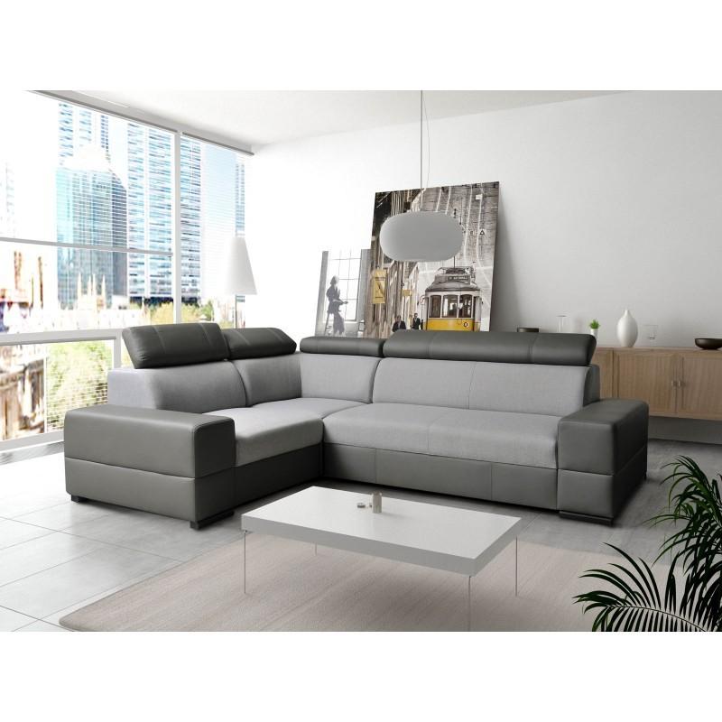 Canapé d'angle CAPRE avec tetières réglables gris et noir