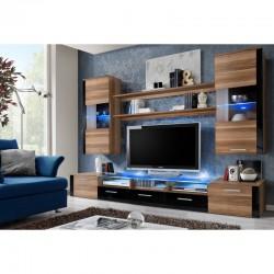 ensemble meubles télé LED original bois et noir laqué meubles hauts et bas Fresh