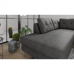 canapé gris foncé scandinave panoramique en tissu pieds bois ontario II