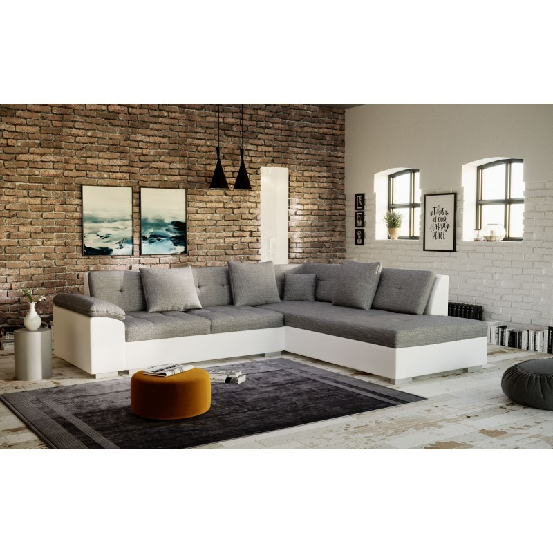 canapé d'angle moderne gris blanc 4-5 places en tissu PORTOS