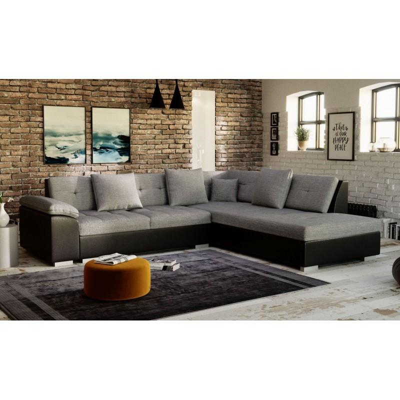 canape d'angle moderne gris noir 4 places PORTOS