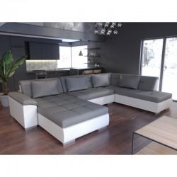 canapé convertible panoramique gris blanc 6 places lemon