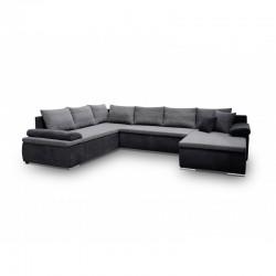 canapé panoramique en u gris noir espace intérieur de longueur 322 cm cesaro