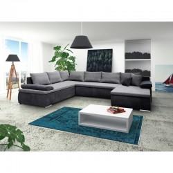 canapé panoramique en u gris noir cesaro