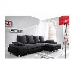 canapé angle design et chic noir 4 places convertible en lit pieds en chrome naho
