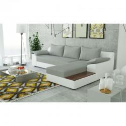 Canapé d'angle convertible gris blanc  NEMO