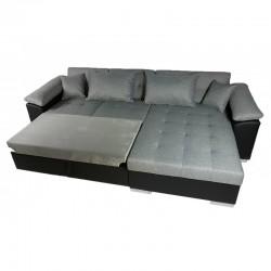 canapé d'angle tissu 4 places gris mirella