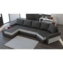 canapé convertible intemporel en tissu gris 6 places roxa