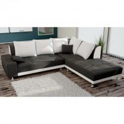 canapé angle 4 places noir et blanc turino