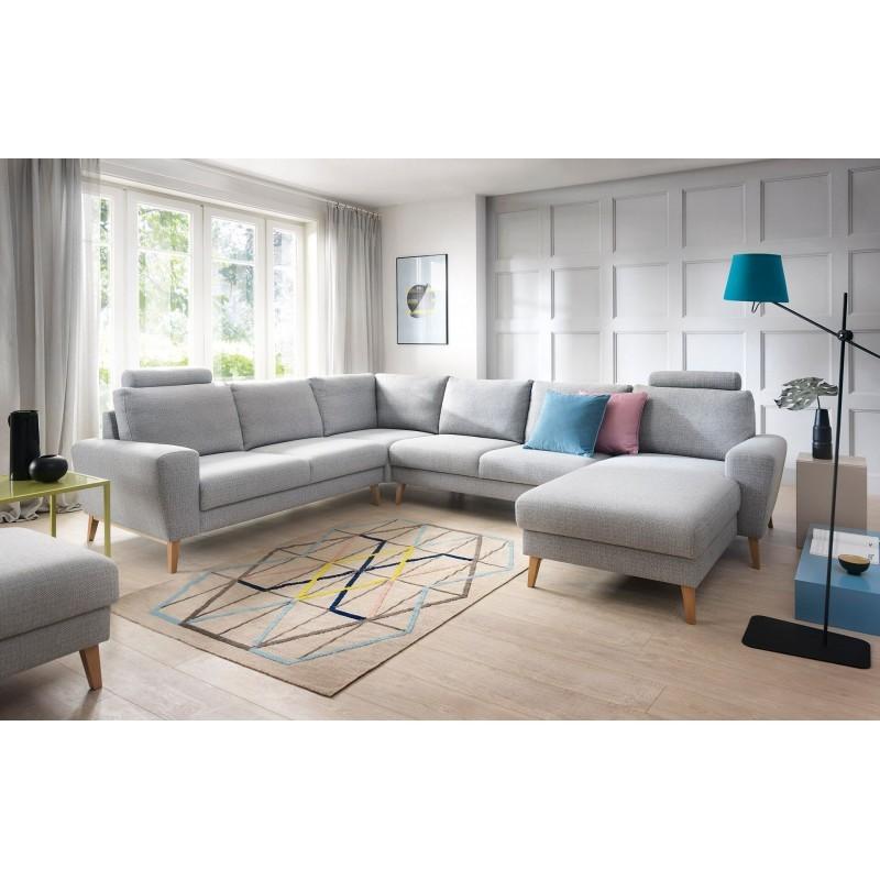 canapé panoramique cocooning de couleur grise pastel au style scandinave 6 places mouna ii