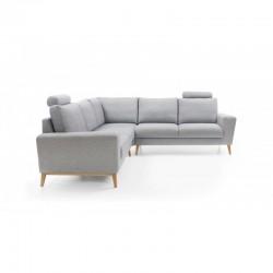 canapé d'angle scandinave 5 places en tissu gris clair MOUNA I