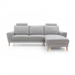 canapé d'angle gris 3 places en tissu mouna